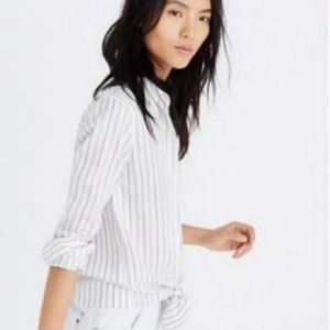 Madewell Tie Front Darcy Striped Shirt Xs